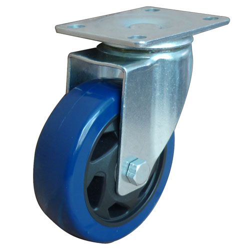 Blue medium duty swivel caster